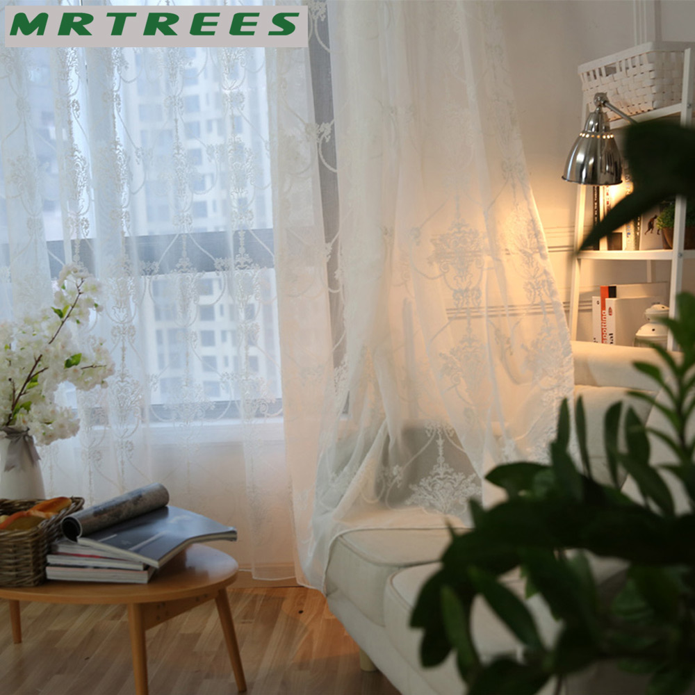 MRTREES Modern Embroidered Sheer Curtains Tulle Window Curtains For Living  Room Bedroom Kitchen White Curtains For Window Drapes