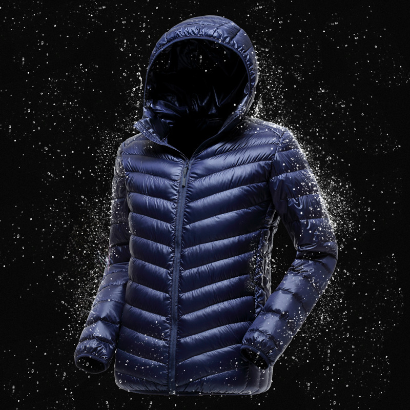 Plus size fashion ultra thin lightweight white duck   down   jacket men hooded slim   down     coat   for spring and autumn