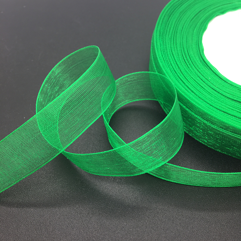 50 ярдов/рулон мм 5/8 «15 мм зеленая органза лента бант свадебное украшение кружева ремесла