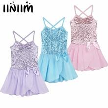 iiniim Girls Ballet sequined Tulle Bowknot Dress Gymnastics Leotard Dress for Kids Child Dancewear Costumes Danse Classique