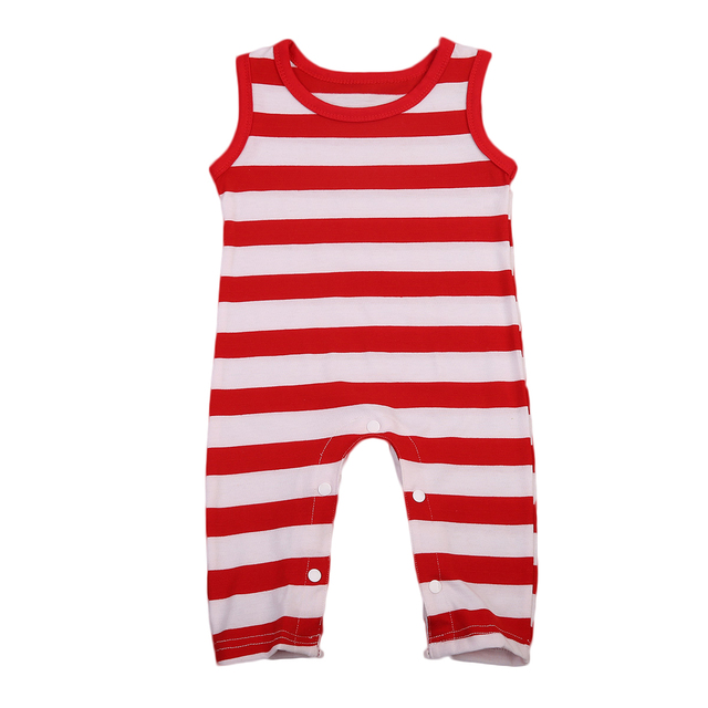 278fa26b5 Striped Newborn Baby Rompers Infant Boy Girl Sleeveless Red White ...
