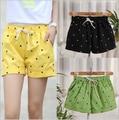 O Envio gratuito de 2016 de Moda de Nova Euramerican Casual Mid Cintura Solta Quente Pequeno Gato Impresso Cotton Shorts Para Senhoras Mulheres