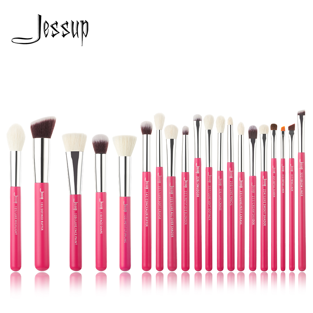 Jessup Rose-carmin / Silver Professional Makeup Brushes brush Set Beauty Tools Make up Brush Cosmetic beauty Foundation Powder makeup cosmetic soft foundation powder brush beauty marble make up tools brushes set 10pcs