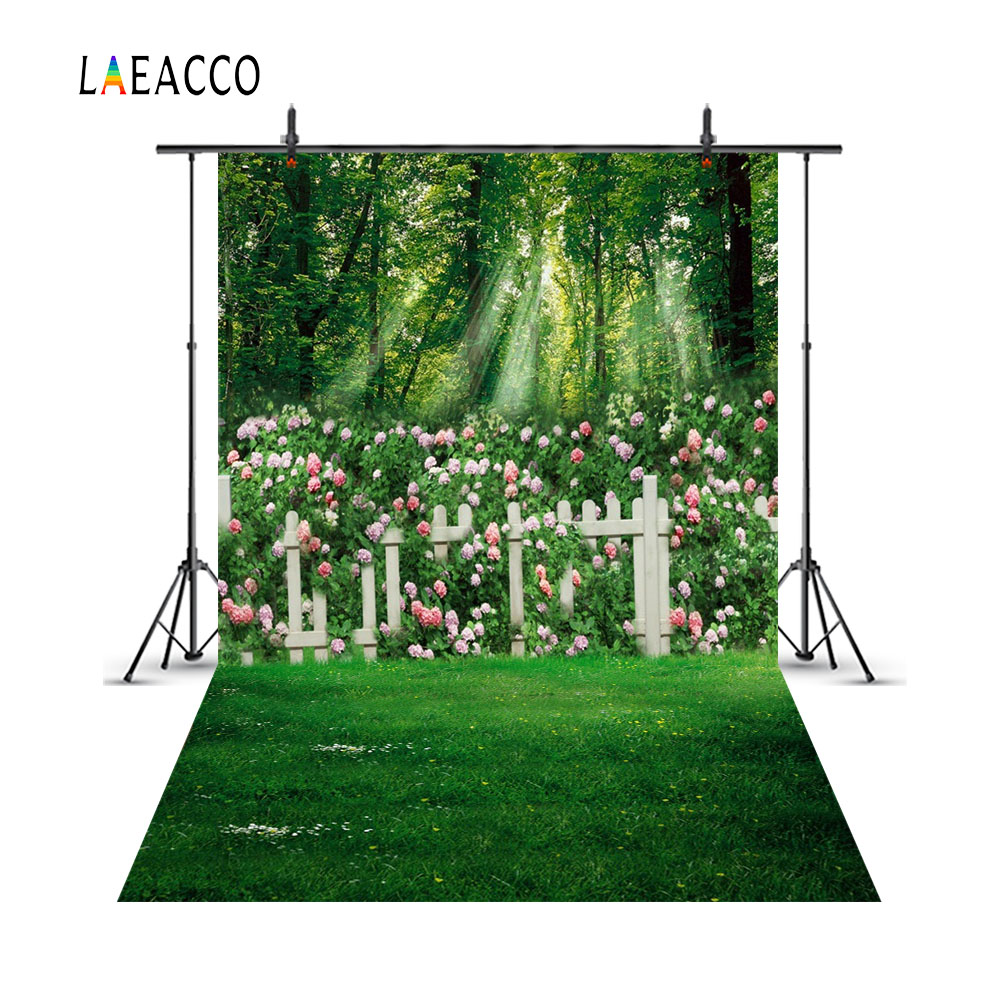 Laeacco Spring Green Flowers Garden Fence Children Photography Backgrounds Customized Photographic Backdrops For Photo Studio louis garden artificial flowers fake rose in picket fence pot pack small potted plant