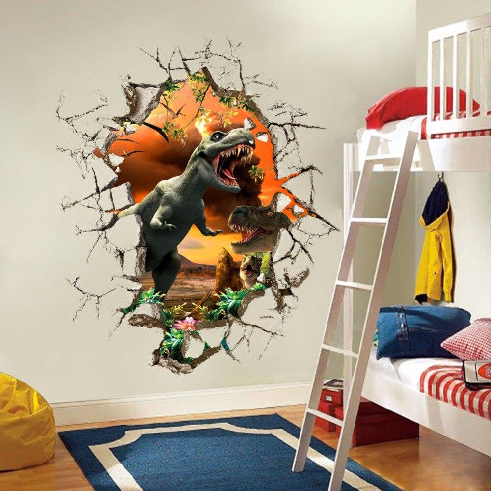 Jurassic Period Dinosaur Lepicí obraz na stěnu Vinyl Vyjímatelný Dekorace na zeď 3D Dětský pokoj Dekorativní nálepka