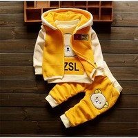 BibiColalwinter new baby girls cotton cartoon clothes sets suit hoodies warm jacket+coat+pants infant clothing girls outwear