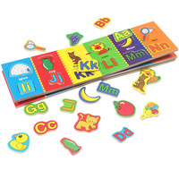 Kids Magnetic 26 Letters Puzzles Montessori Educational Wooden Toys For Children Magnets Alphabet Learning Book For Baby Toy