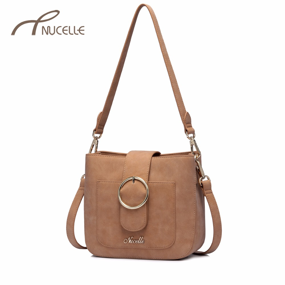 NUCELLE Women's PU Leather Messenger Bag Ladies Brief Frosted Leather Shoulder Bags Female Leisure Flap Crossbody Purse NZ4162 nucelle women split leather messenger bags ladies fashion chain mini cross body bags female flap shoulder bags for phone nz5902