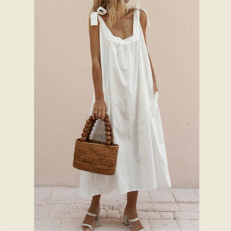Summer Loose Women Dress 2019 Vintage Sexy Solid Color Beach Dress Sundress Pocket Yellow White Dress Female Dresses Clothings outfits para playa mujer 2019