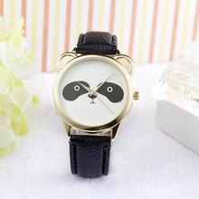 Fashion Neutral Diamond Lovely Panda Face Faux Leather Quartz Watch floral face faux leather watch