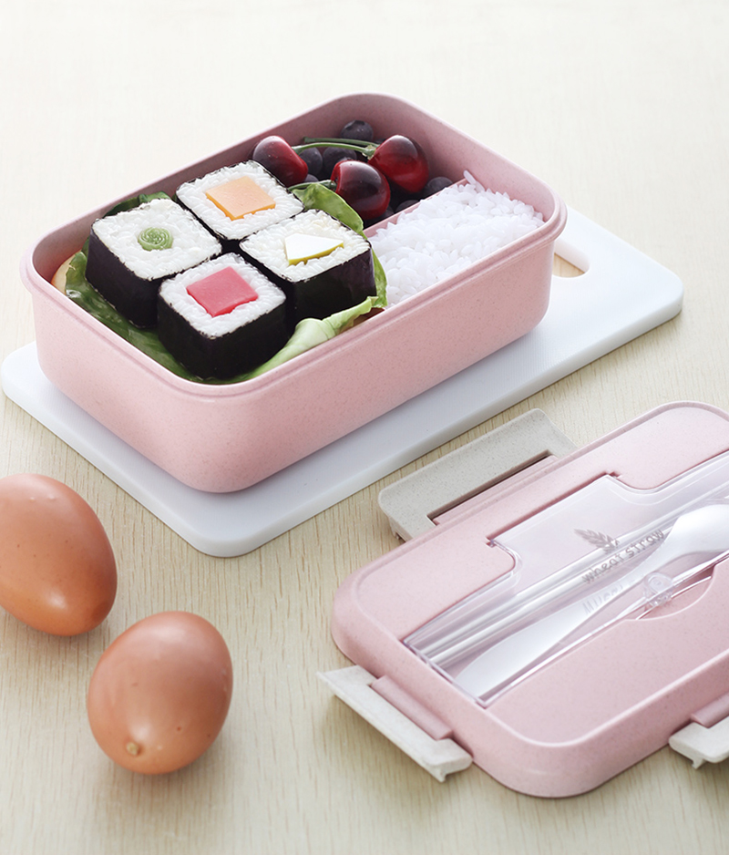 TUUTH Microwave Lunch Box Wheat Straw Dinnerware Food Storage Container Children Kids School Office Portable Bento Box B4