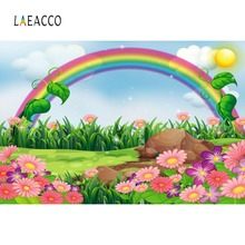 Laeacco Baby Cartoon Colorful Rainbow Grass Flower Sun Sky Party Pattern Photo Backgrounds Photographic Backdrops Studio