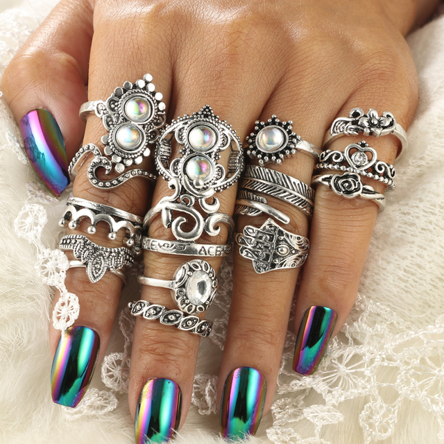 Tocona Antique Silver Color Geometric Ring Set Hasma Hand Flower Hoollow Out Heart Rings Carving Leaf Knuckle for Women 4020 1