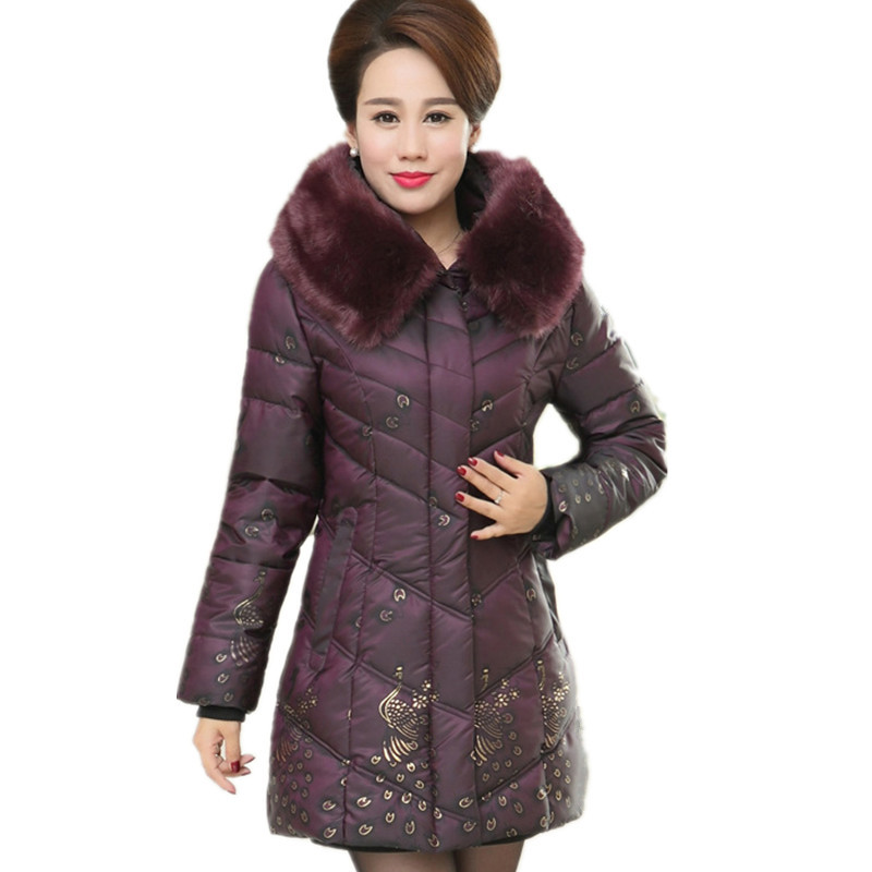 Middle-aged Winter Parka Plus Size Print Large Fur Collar Hood Padded Jacket Women Fashion Warm Thick 5XL Lady OverCoat TT2928 2017 middle aged winter jacket women thicken warm cotton padded slim plus size 6xl winter coat women parka high quality