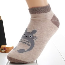 Shallow Mouth Solid Color Cotton Short Sock Cartoon Totoro Breathable Comfortable Women Fshion