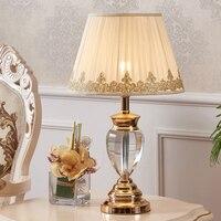 Исследование Хрустальная настольная лампа краткое современный Кристалл Настольная лампа Свадебные хром украшения выключатель свет табли