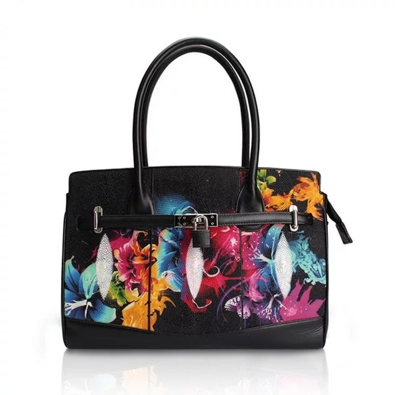 Top-handle Bags Luxury Designer Genuine Stingray Skin Leather Female Large Metal Lock Handbag Ladies Flowers Top-handle Bag Womens Large Purse Luggage & Bags