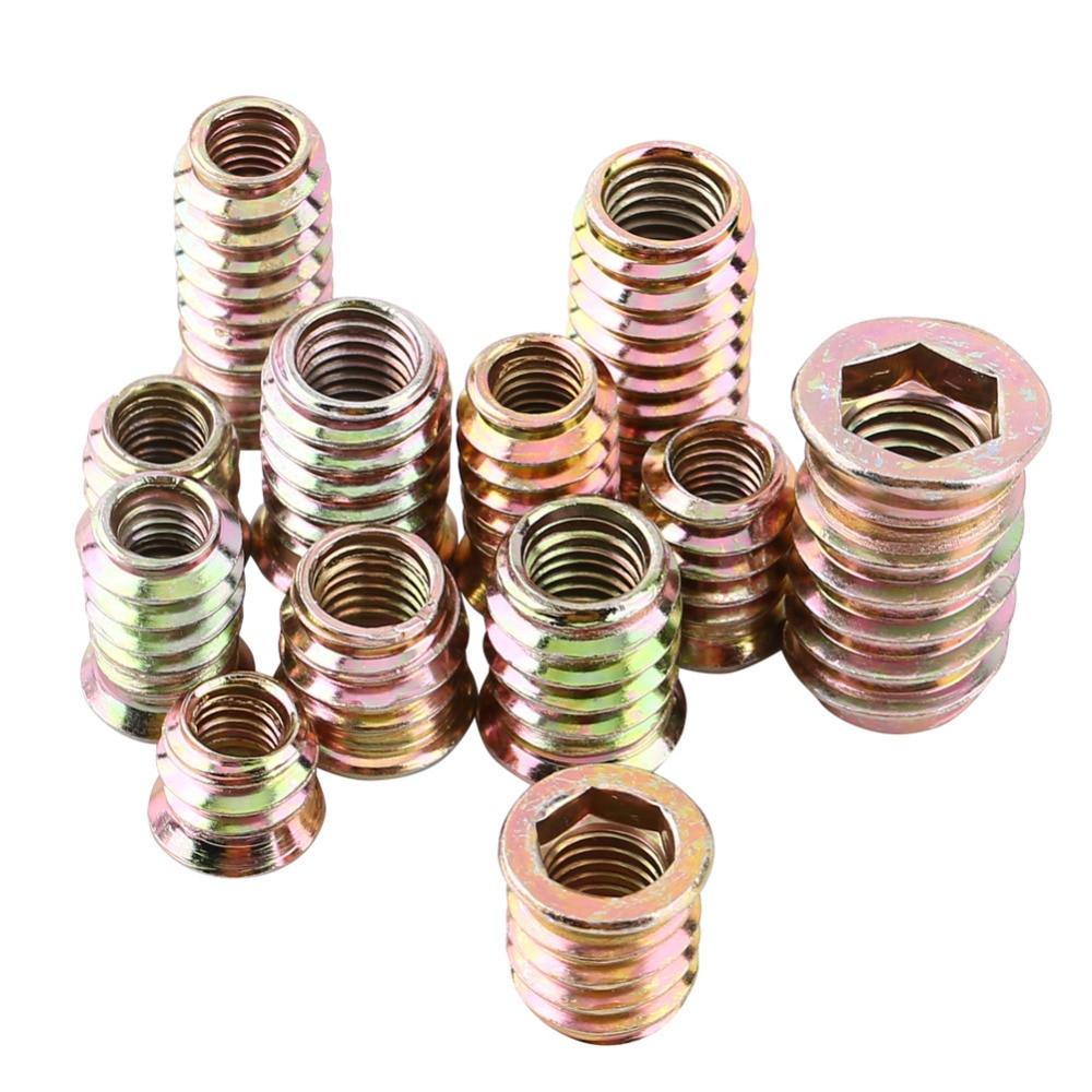 20pcs Screws Self-tapping Screws Insert Nut Carbon Steel Hex Socket Drive Head Nut Drive Wood Nut Threaded For Wood Furniture  цены