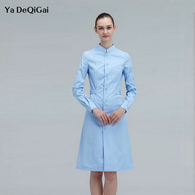 Medical Gown Overalls Spa Uniform Ladies Medical Robe Medical Lab Coat Hospital Doctor Slim Multicolour Nurse Uniform White Coat