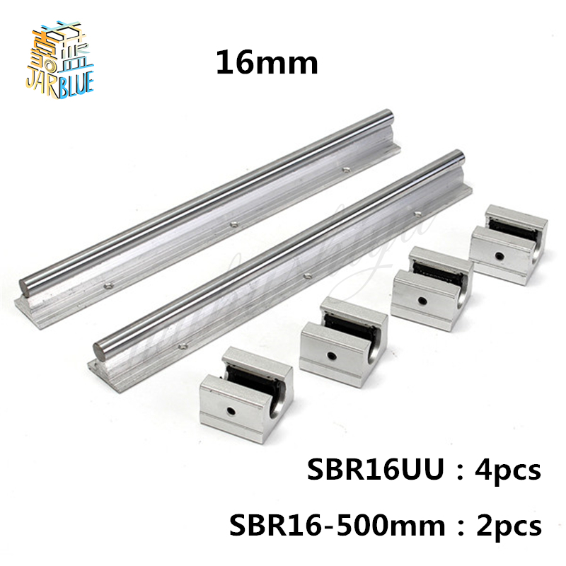 Free Shipping 2 pcs SBR16 500mm linear guide and 4 pcs SBR16UU linear bearing blocks,sbr16 length 500mm for parts