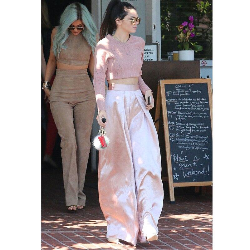 AEL Pink High Waist   Wide     Leg     Pants   Women 2019 Summer Fashion Elegant Slim Long Casual Trousers Female Clothing High Quality
