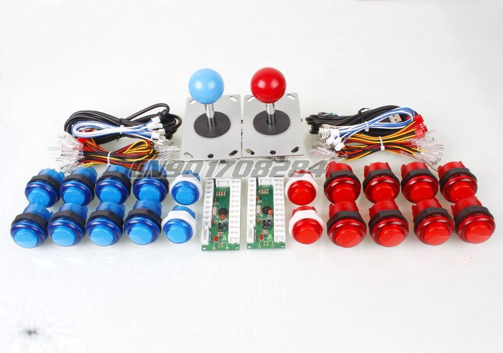 2 Controllo Del Lettore Encoder USB Al PC Games 2 Rocker + 20 LED Illuminato Pulsanti Per Joystick Arcade Kit FAI DA TE Parti