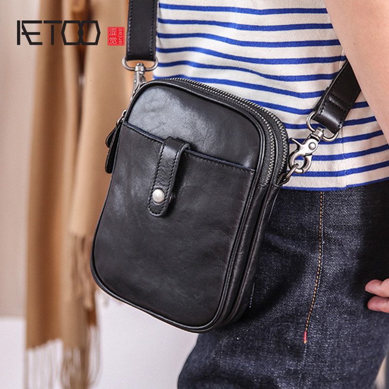 AETOO Men oblique across small bags, leather mini casual single shoulder small bag, personality retro cowhide mobile phone bagAETOO Men oblique across small bags, leather mini casual single shoulder small bag, personality retro cowhide mobile phone bag
