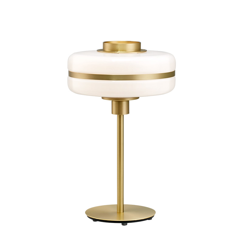 New arrival classical table lamp milky white glass shade Gold Iron art table light in foyer office study deco lighting fixture