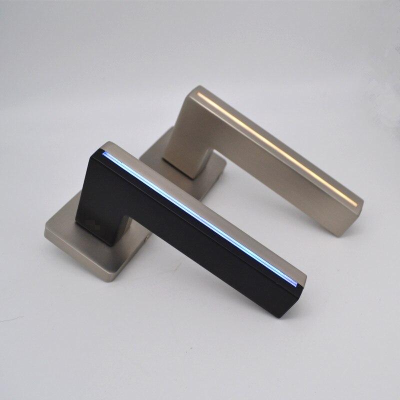 New Black Interior Door Lock LED Light Door Handles For Bedroom Mechanical Lock With Light