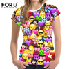 FORUDESIGNS 3D Emoji T Shirt For Woman Kawaii Smile Women Tops Funny Summer Tshirt Teenager Girls