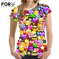 FORUDESIGNS 3D Emoji T Shirt For Woman Kawaii Smile Women Tops Funny Summer Tshirt Teenager Girls