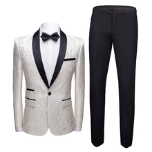 купить Men's Party  Sophisticated Spring / Fall / Winter Regular Suits, Floral V Neck Long Sleeve Cotton / Polyester Jacquard White дешево