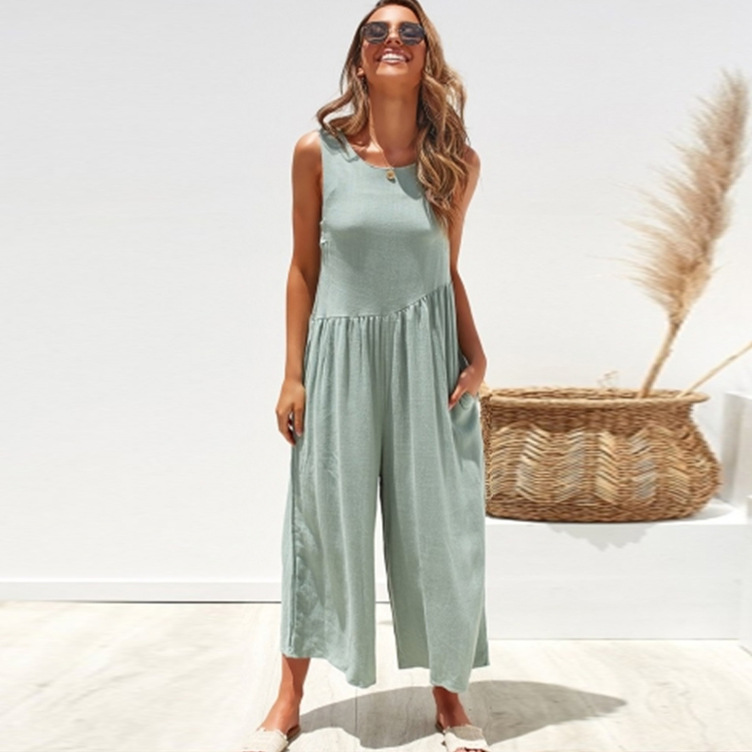 2019 European and American Style Sleeveless Backless Deep V Wide Leg Pants Jumpsuits