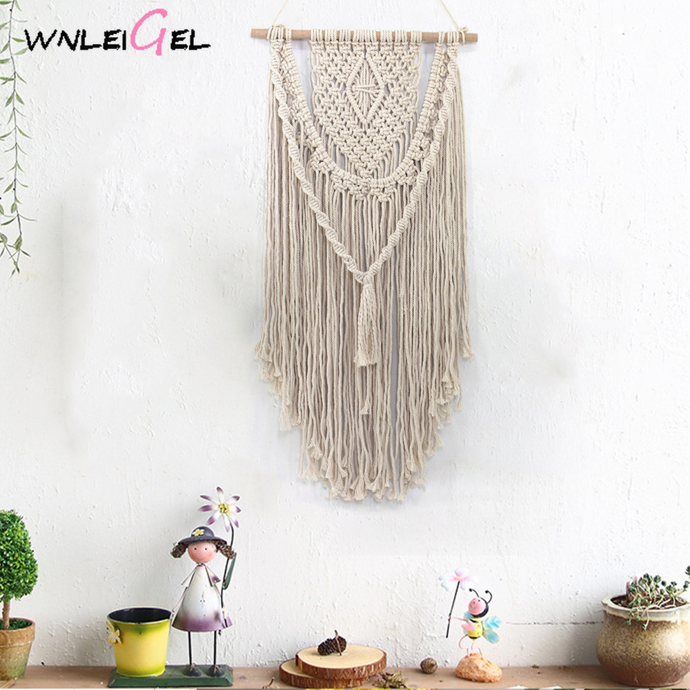 WLG Hanging decoration homeroom nordic style decoration handmade wall decor fabric tassel weaving decor wind chime
