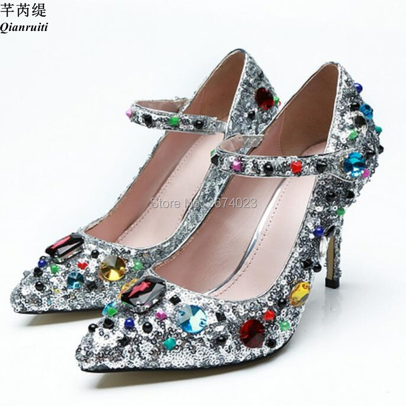 25d3856fec31 Qianruiti Vogue Runway Women Gemstone Pumps Jewel Strap Mary Janes Shoes  Multicolored Diamonds Thin Heels Luxury Crystal Pumps