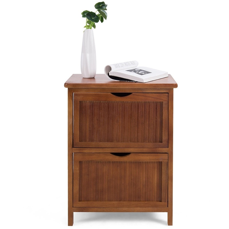 2 Drawers Contemporary Vintage Bedside Solid Wood Nightstand High Quality Side End Table Living Room Bedroom Furniture HW57057