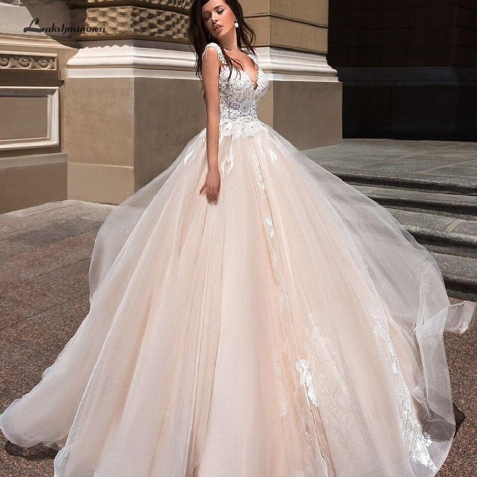 Lakshmigown Vintage Champagne Robe de mariée 2019 Robe de soirée Sexy Tulle princesse longues robes de mariée blanc dentelle Applique