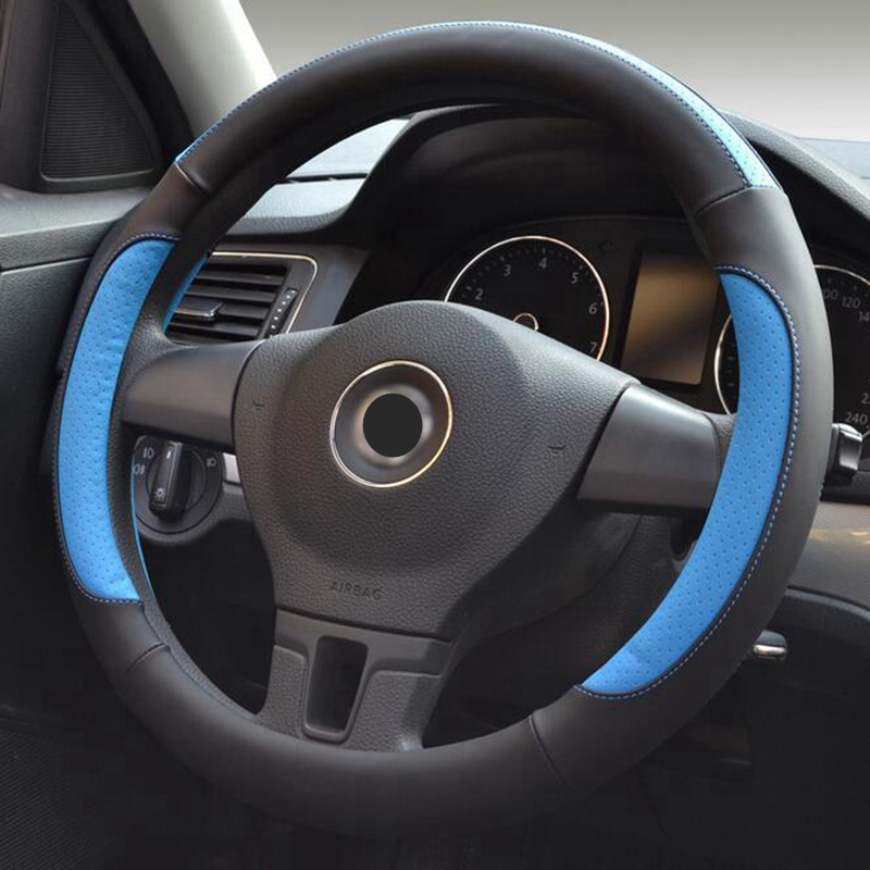 Leather Steering Wheel Cover 35/36/37/38/39/40cm Sport Style Car case Styling Wholesale For VW GoL Polo Ford Mazda Kia Hyundai polo car style protective plastic case for blackberry 8520 8530