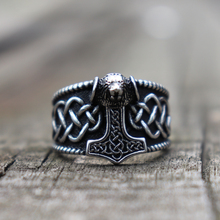 Viking Mjolnir Thors Hammer lion Rings Mens Celtics Knot Stainless Steel Ring Nordic Amulet Jewelry