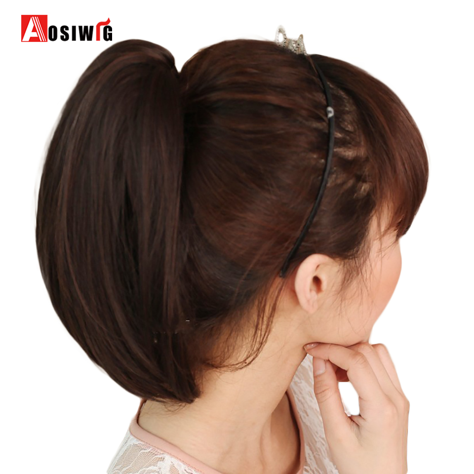 Synthetic Clip In Hair Extensions Short Sttaight Ponytail Heat Resistant Claw Ponytail for Women AOSIWIG
