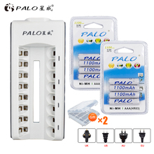8 Slots LED indicator Charger for AA / AAA Batteries + 8 pcs aaa 1100mah nimh rechargeable batteries hsp 7 2в 1100mah nimh