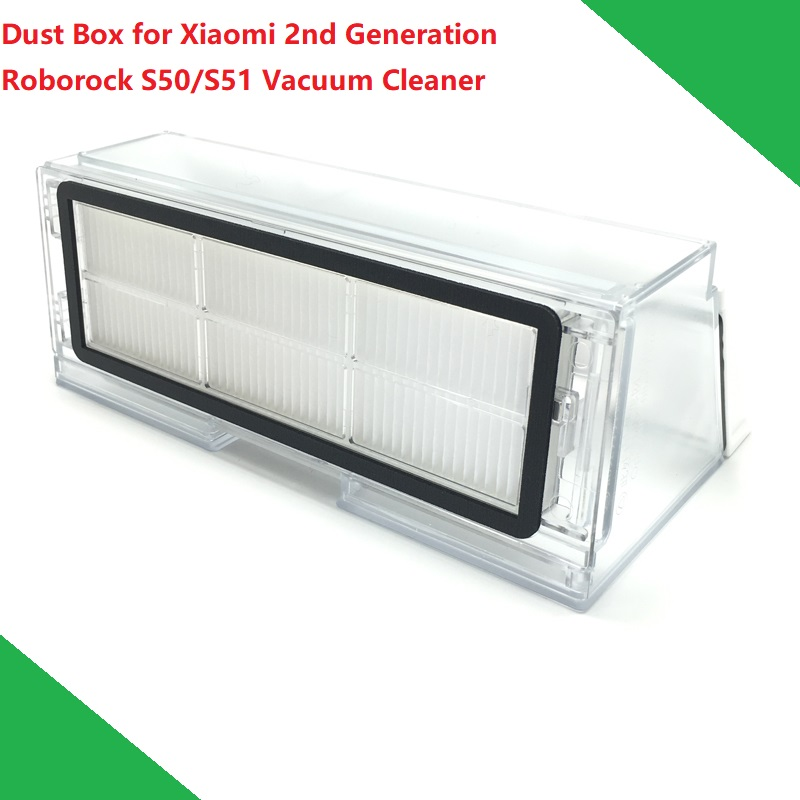 New Original Dust Box for Xiaomi Vacuum Cleaner 2nd Generation Roborock S50 S51 Robot Dustbin Box with Filter Hepa