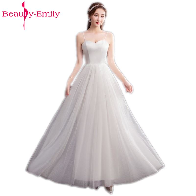 Beauty Emily Long A line Lace White   Bridesmaid     Dresses   2018 Women Wedding Party Prom Women   Dresses   Free Shipping
