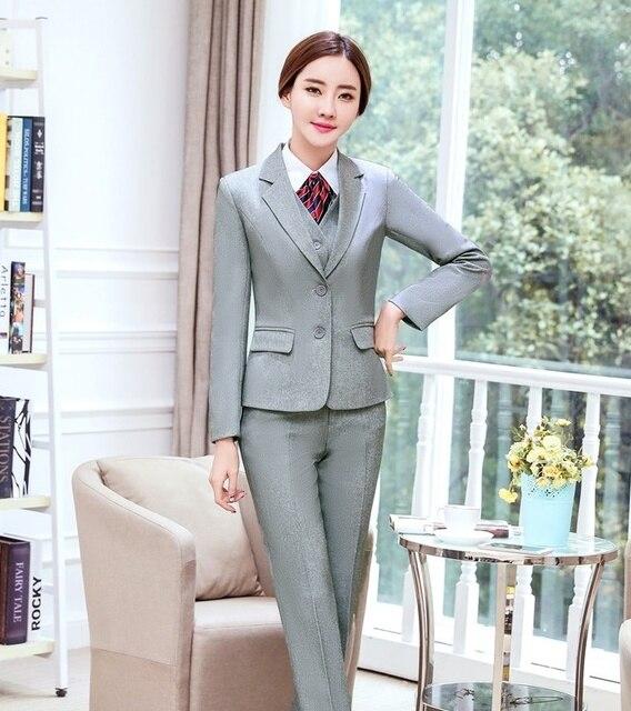 Formal Wanita Bisnis Setelan Wanita 3 Piece Rompi 404023fd21