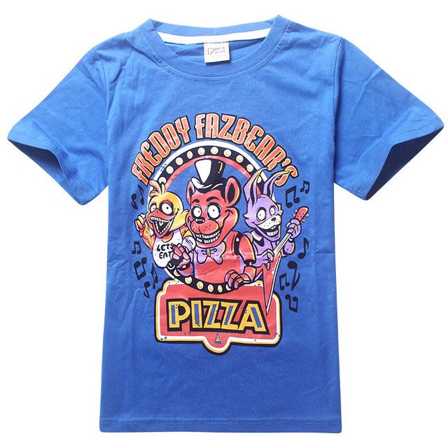 Moda 5-14y meninos T shirt originais impressão O pescoço T - camisas cinco noites em Freddys Boy manga curta t-shirt preto / cinza / azul para escolher