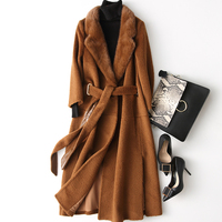 Real Fur Coat Woolen Coats Autumn Winter Coat Women Clothes 2018 Wool Jacket Korean Mink Fur Collar Manteau Femme Hiver ZT789