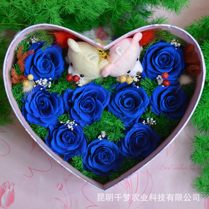 preserved flowers nine colored roses flower shaped gift birthday, Ideas