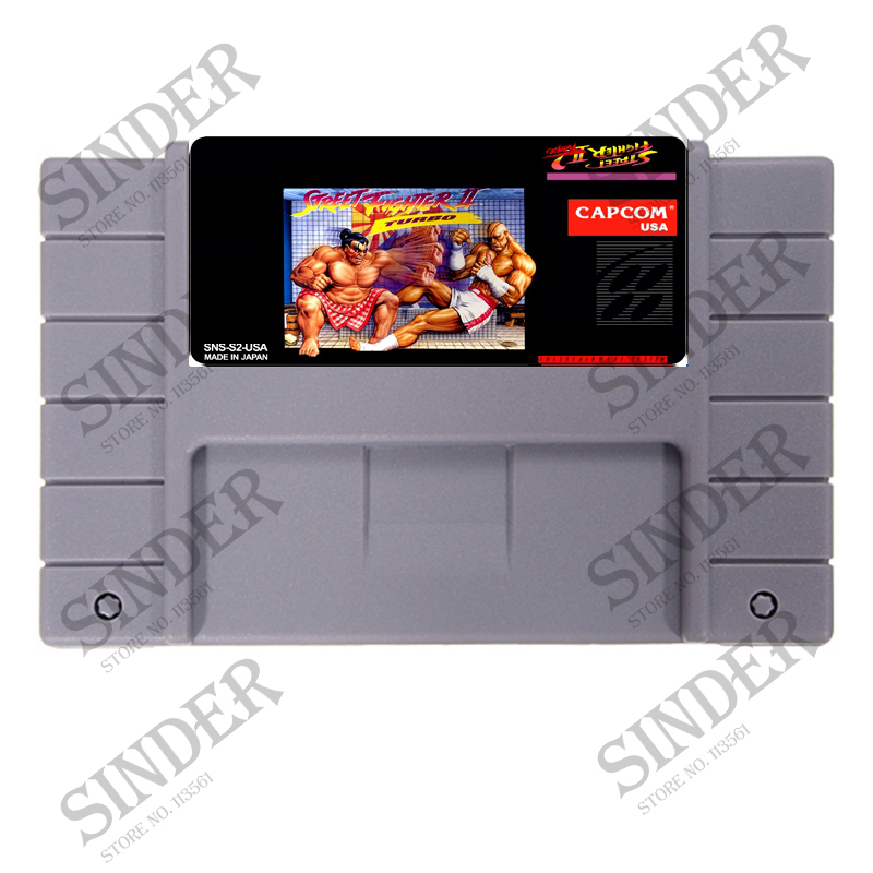 Street Fighter II TURBO USA Version 16 bit Big Gray Game Card For NTSC Game Console
