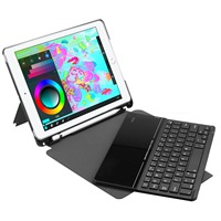 Bluetooth keyboard case with pen tray (pen slot can be fitted with pencil) glass keyboard for ipad 9.7