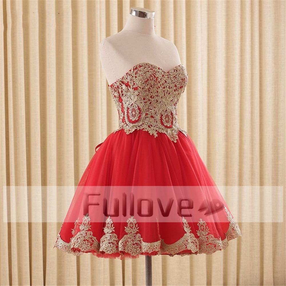 Fashion Gold Appliques Short   Prom     Dress   2019 Sweetheart Lace-Up A-Line Short Party   Dress   Vestidos De Fiesta Curto Abendkleider